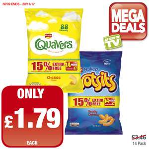 Quaver and Wotsits 14 for the price of 12 packs was £3.46 now £1.79 @ Premier Food Stores