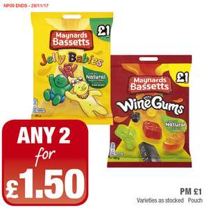 Maynards Bassetts Jelly Babies or Wine Gums (165g)  was £1.00 now any 2 for £1.50 @ Premier Food Stores
