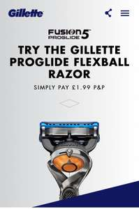 Free GILLETTE PROGLIDE FLEXBALL RAZOR worth £12 Simply Pay £1.99 Postage & Receive £4 Off voucher for Gillette Blades.