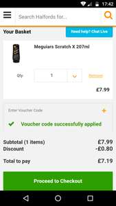 Meguiars Scratch X 2.0 Halfords £7.19 With Code