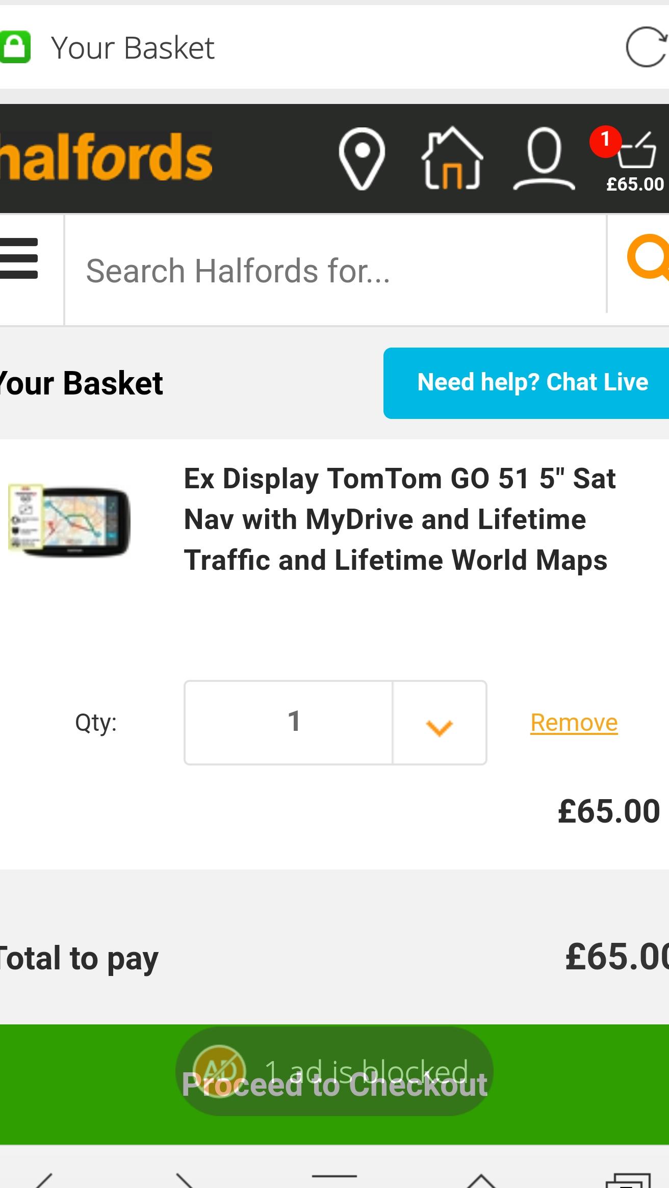 "TomTom GO 51 5"" sat nav ex display £65 instore @ Halfords"