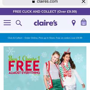 Code Stack - Extra 25% off and £1 postage @ Claires