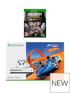 Xbox One S 500GB Console with Call of Duty: World War 2 (WWII) and either with Forza Horizon 3 Hotwheels or Middle Earth Shadow of War and either 12 months XBox gold or a wireless controller - £229.99 @ very.co.uk with £30 cashback