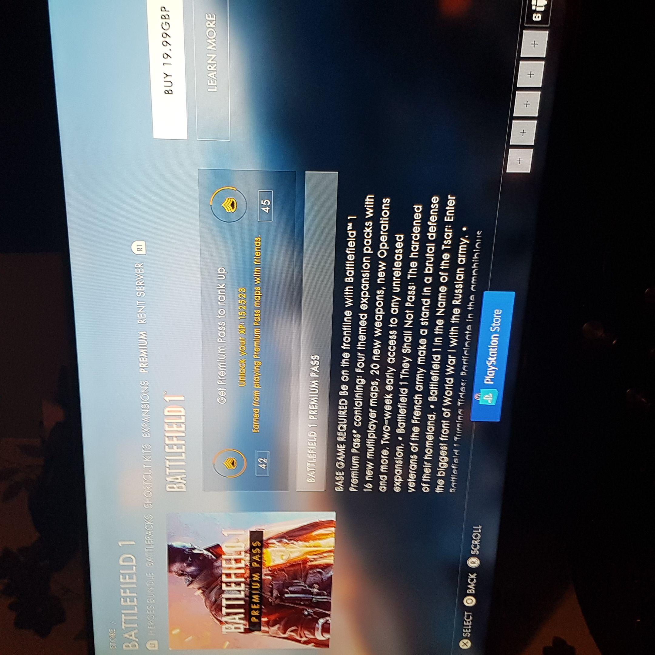 Battlefield 1 premium pass ps4 £19.99 @ PSN