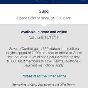 Amex Rewards get £50 off a £200 gucci spend until 15dec