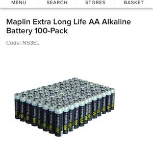 Maplin Extra Long Life AA Batteries 100 pack - half price £14.99