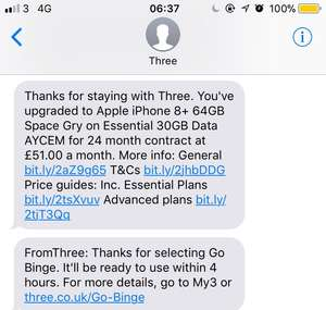 iPhone 8+ 64gb 30gb of data per month, AYCE minutes, AYCE Texts = £51 inc VAT.  at Three