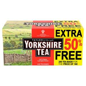Yorkshire 240 Teabags £4 @ Iceland (160 bags + 50% free)