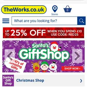 25% off £10 Spend  at The Works