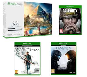 MICROSOFT Xbox One S with Assassin's Creed Origins +  MICROSOFT Halo 5: Guardians +  MICROSOFT Quantum Break +  MICROSOFT Call of Duty WWII  £199.99 @ Currys/PC World (C&C Only)