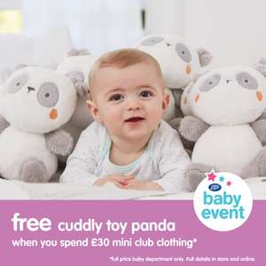 Free mini club panda worth £9.00 when you spend £30 on mini club clothes at boots instore