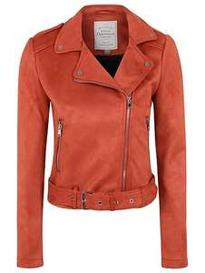 Faux-Suede Biker Jacket - red - £6 at Asda George