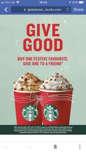 BOGOF on Festive drinks 2pm - 5pm @ Starbucks - Thursday 9th - Sunday 12th November