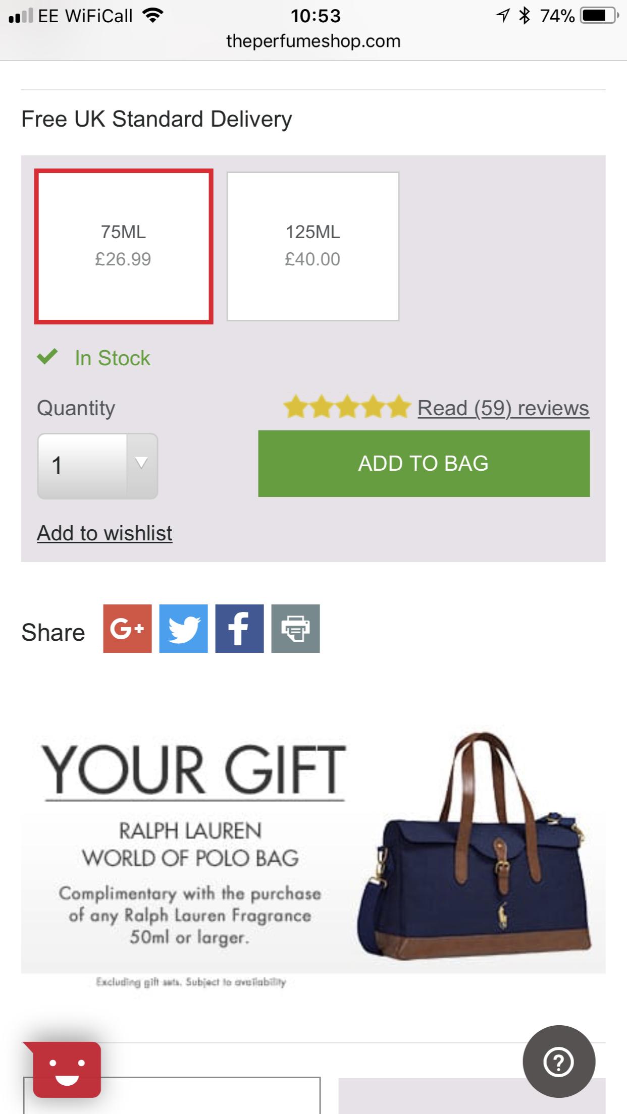 The perfume shop. Ralph Lauren safari 75ml with free polo duffle bag. - £26.99