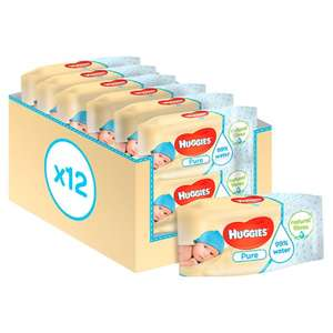 Huggies Pure Baby Wipes Fragrance Free 12 Packs X56 Wipes - 2 for £12 @ Tesco
