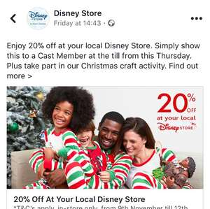 THIS OFFER HAS BEEN WITHDRAWN AND DEAL EXPIRED 20% off Disney Store in-Store only NOT ONLINE 9-12/11 showing code from Facebook Page