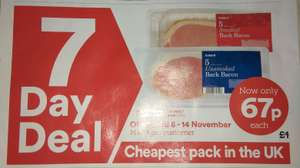 Cheapest Bacon available in the UK! 5 rashers of Smoked/Unsmoked Back Bacon 67p each at Iceland Instore Only 8-14th November