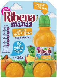 Ribena Minis Apple & Mango (No Added Sugar) (4 x 200ml) was £1.95 now £1.00​ @ Morrisons