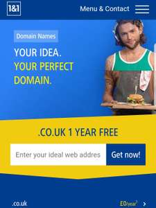 .co.uk 1 Year Free Domain @ 1&1 Internet