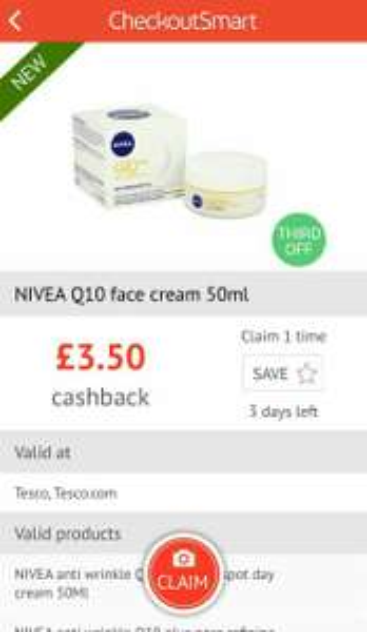 £3.50 cash back on Nivea Q10 cream - Checkoutsmart