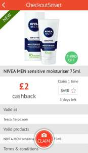 £2 cashback on Nivea Men Sensitive Moisturizers - Checkoutsmart