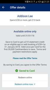 Spend 30£ on Addison lee and get 10£ cash back for amex card holder