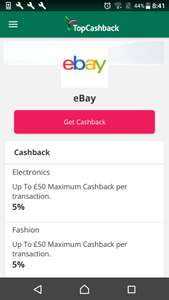 Topcashback 5% cash back on eBay is back on