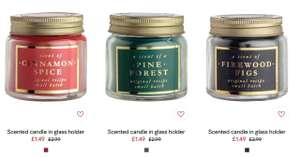 Scented Candle in glass holder including Cinamon Spice - Pine Forest - Firewood Figs - White Hyacinth -  £1.34 each delivered with code @ H&M (code 6067 gives 10% off and free delivery across Home)