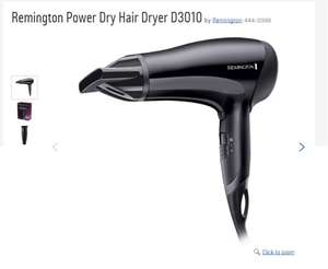 Remington Power Dry Hair Dryer D3010 with Ceramic ionic technology £10.39 at Argos