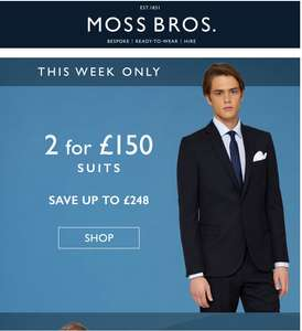 2 for £150 Suits from Moss Bros