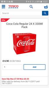 diet coke and coke zero cans 24 pack - £6 , Coca cola  £6.50 @ Tesco.com and instore