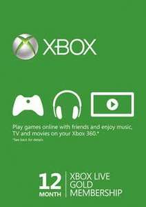 12 months XBOX live subscription £30.89 at  Gamesdeal