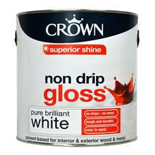 Instore only. Crown 2.5 litre non drip gloss £5.60 and Crown 2.5l itre vinyl silk £3.00 at Wilko