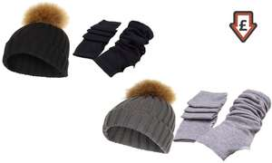 Pom-Pom Hat and Winter Gloves in Choice of Colour £6.99 (inc.P&P) @ Groupon