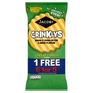 Jacob's Baked Crinklys Cheese & Onion Flavour 6 Pack (150g) was £1.00 now 2 packs for £1.50 (Mix and Match available) @ Iceland