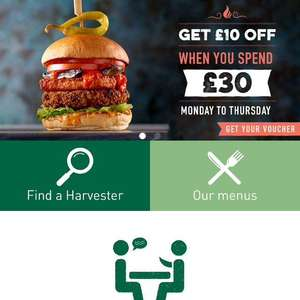 Harvester £10 off a £30 spend with app voucher