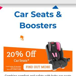 Babies r us 20% off all car seats when you download voucher plus a free £10 gift voucher when you spend £100