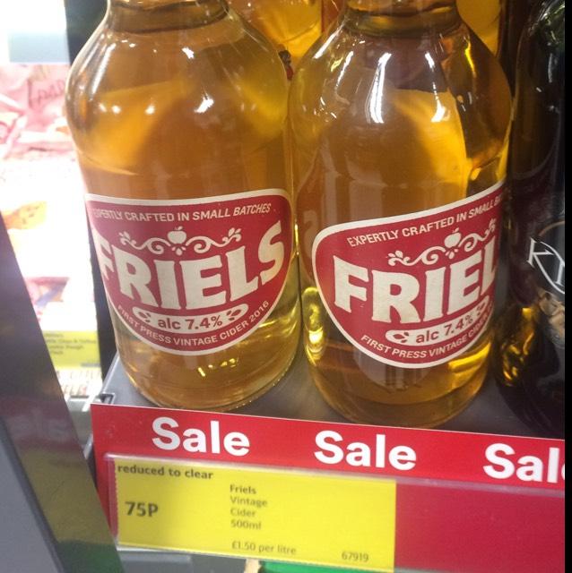 Friels First Press Vintage Cider 500ml 7.4% bottles £0.75 - Iceland
