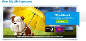 Churchill Life Insurance for over-50's - Pay £6pm (3 months) and Get £75 Gift Card & £75 Cashback