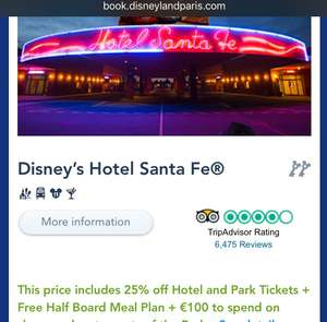 4D3N at Disneyland Santa Fe Hotel Paris + Half Board Meals + €100 shopping money + Park Tickets - £215pp