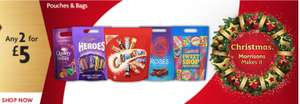 2 for £5 on Celebrations/Heroes/Roses/Caramel/Quality Street/ Swizzles/Orange Minis pouches @ Morrisons online and instore