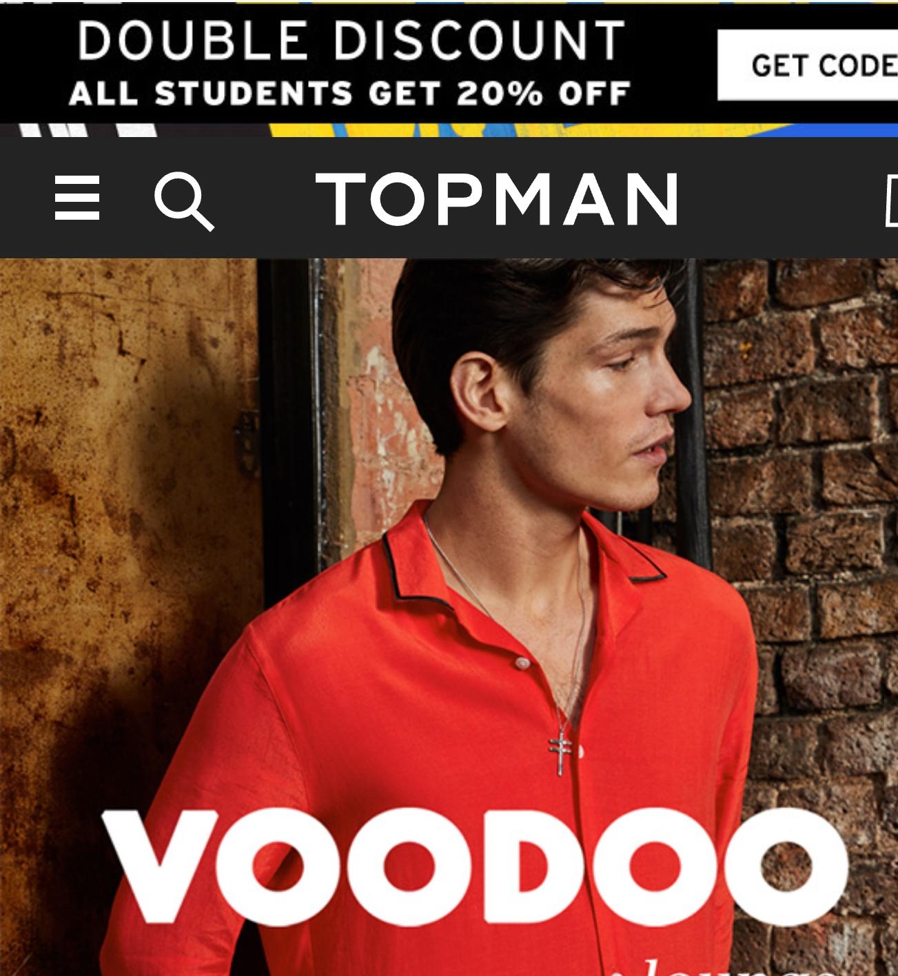 """Topman """"Double Discount"""" -  20% Student Discount"""