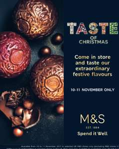 M&S Free Festive Tasting Event 10-11 November (Selected Stores)