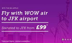 London to JFK from £99 ew (selected flights, via Iceland) - Travel: Apr. - May '18 at WOW air