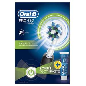 Oral-B PRO 650 Cross Action Rechargeable Electric Toothbrush - Black - £22.99 @ MyMemory