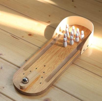 Mini  Wooden Desktop Bowling set £1.30 Delivered using code @ Gamiss