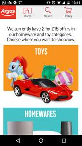 Argos two for fifteen on toys and homewares