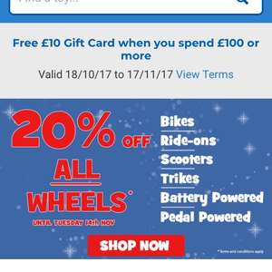Toys R Us 20% off all Wheels and £10 gift voucher when you spend £100