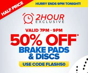7pm to 9pm ONLY - 50% OFF Brake Pads & Discs - EuroCarParts - code FLASH50