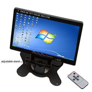 Camecho Mini Computer & TV Display CCTV Security Surveillance Screen 7 inch HD LCD Car Backup Monitor Support HDMI / VGA / Video / Audio Portable Size £44.19 @ Amazon
